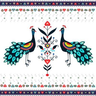 Canvas print wzór haftu z pawiami