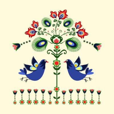 Canvas print wzór haftu z ptakami
