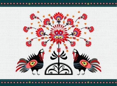 Canvas print wzór ludowy z indykami