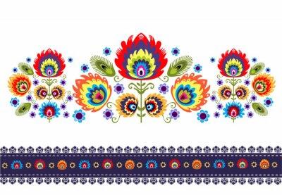 Canvas print wzór ludowy z kwiatami