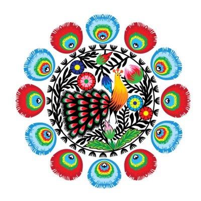 Canvas print wzór ludowy z kwiatami i pawiem, łowicki