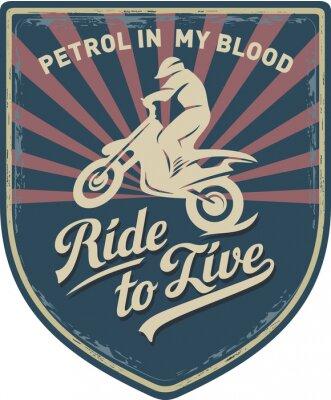 Canvas print Мотоциклист, Ездить, чтобы жить, Бензин в моей крови, мотоцикл, Мотокросс, нашивка, иллюстрация