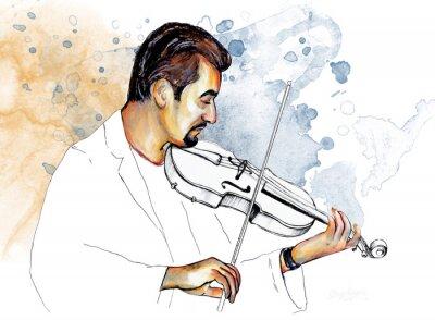 Canvas print Рисунок-иллюстрация,,Музыкант играет на скрипке,, .