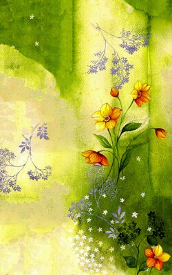 Canvas print 수채화 배경위에 그려진 수선화 줄기와 싸리꽃