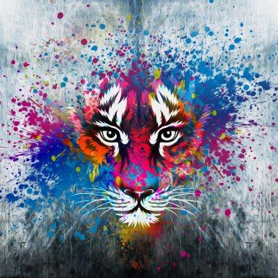 Canvas print кляксы на стене.фантазия с тигром