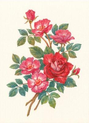 Canvas print Букет с цветами шиповника, акварель.