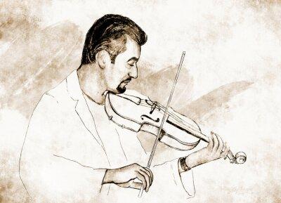 Canvas print Рисунок-иллюстрация ,,Скрипач ,, .