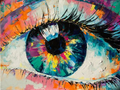 """Canvas print """"Fluorite"""" - oil painting. Conceptual abstract picture of the eye. Oil painting in colorful colors. Conceptual abstract closeup of an oil painting and palette knife on canvas."""