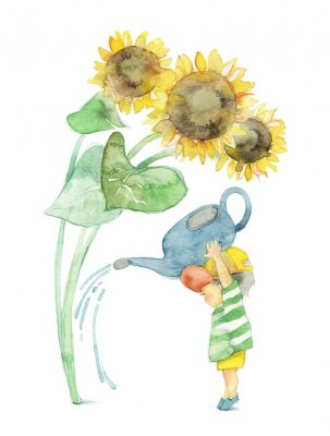 Canvas print 向日葵と男の子