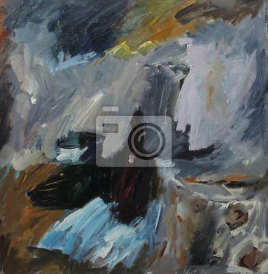 Canvas print Oil painting Перекласти..абстрактный натюрморт с бутылкой в темных тонах.abstract still life with a bottle in dark tonesOn Canvas
