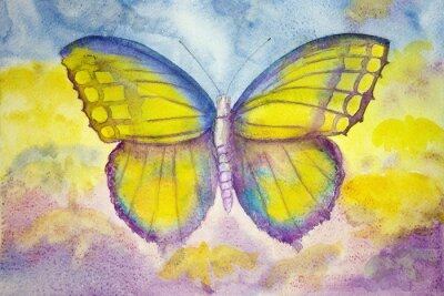 Canvas print Yellow and blue butterfly. The dabbing technique gives a soft focus effect due to the altered surface roughness of the paper.