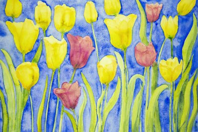 Canvas print Yellow and red tulips on a blue background. The dabbing technique near the edges gives a soft focus effect due to the altered surface roughness of the paper.