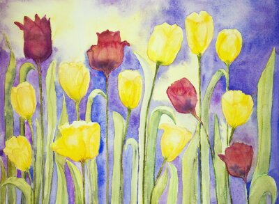 Canvas print Yellow and red tulips on a lilac and yellow background. The dabbing technique near the edges gives a soft focus effect due to the altered surface roughness of the paper.