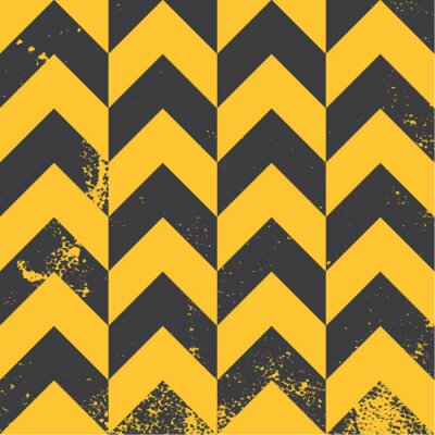 Canvas print yellow chevron pattern with distressed texture
