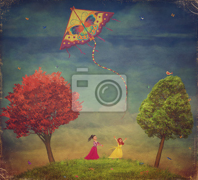 Canvas print Young girls  among   trees on the field  with the kite