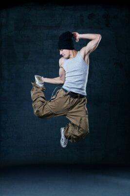 Canvas print Young hip-hop dancer jumping
