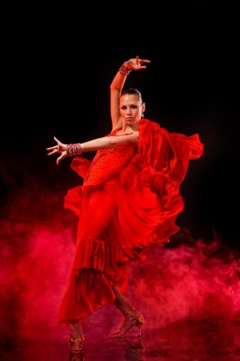 Canvas print Young woman dancing Latino on dark smoky background