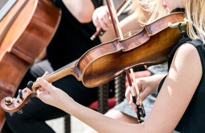 Canvas print young woman playing violin