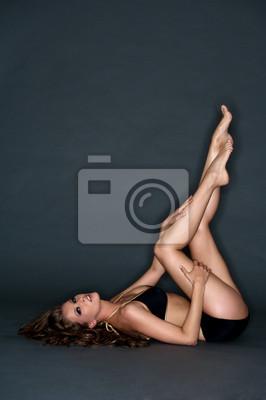Young woman with black bikini