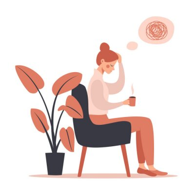 Canvas print Young woman with headache drinking hot coffee while sitting in chair. Vector illustration isolated from white background
