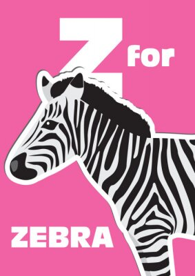 Canvas print Z for the Zebra, an animal alphabet for the kids