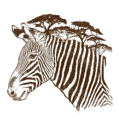 Canvas print Zebra with tree