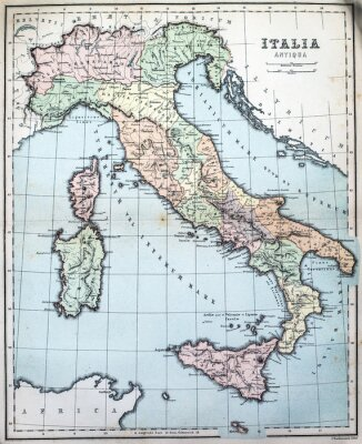 Wall mural 19th Century map of Roman Italy