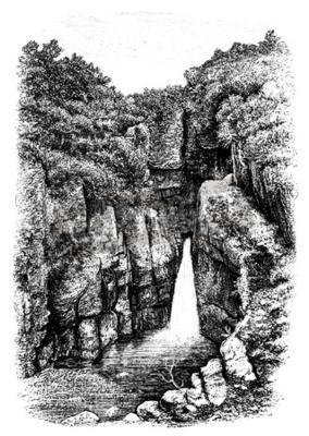 Wall mural 19th century of waterfall near Lydford, Devon, UK