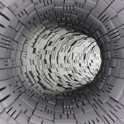 Wall mural 3d abstract tunnel render