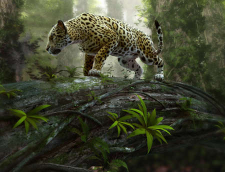 Wall mural 3d CG graphics of a jaguar on the prowl