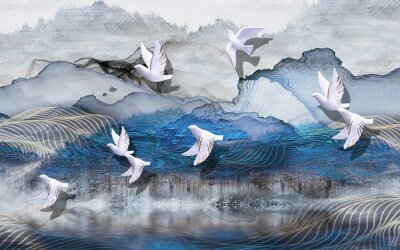 Wall mural 3d illustration, abstract grunge background, gray and blue waves, smoke, white gilded ceramic birds