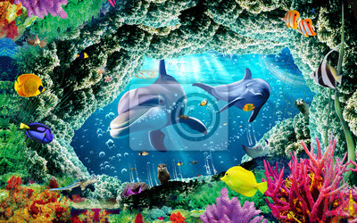 Wall mural 3d illustration  wallpaper under sea dolphin, Fish, Tortoise, Coral reefsand water with broken wall bricks background. will visually expand the space in a small room, bring more light and become an ac
