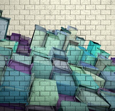 Wall mural 3d mosaic tile brick wall with cube fragmented pattern