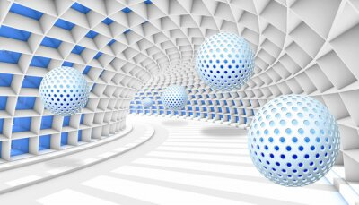 Wall mural 3d picture balls fly away into the tunnel perspective