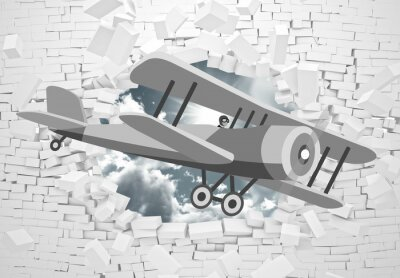 Wall mural 3d picture of a gray plane flying through a brick wall