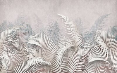 Wall mural 3d picture of palm leaves on the background