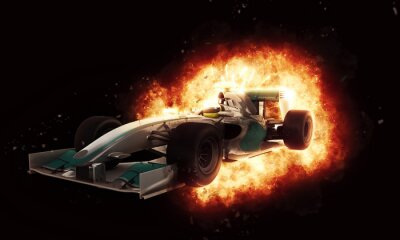 Wall mural 3D racing car with fiery explosion effect