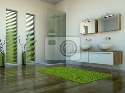 3d rendering of green bathroom with shower