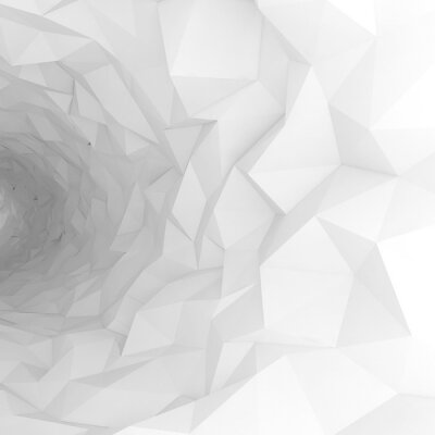 Wall mural 3d tunnel with chaotic polygonal surface