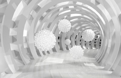 Wall mural 3d wall tunnel with flying balls 3d rendering