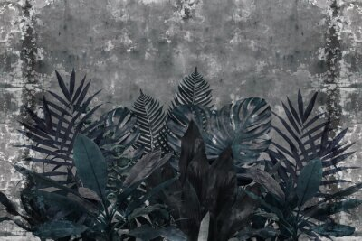 Wall mural 3d wallpaper, blue leaves of houseplants on concrete wall textured background. The original panel will turn your room in with the most recent world trends in interior fashion.