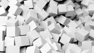 Wall mural 3D white cubes pile abstract background