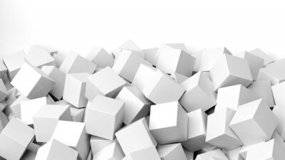 Wall mural 3D white cubes pile, isolated on white with copy-space