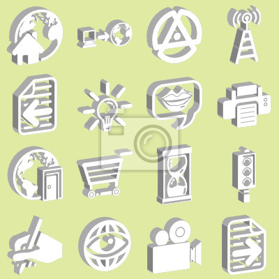 3d white internet and computing icons