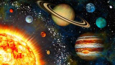 Wall mural 3D Widescreen Solar System
