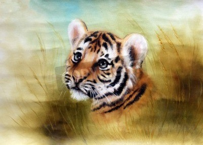 Wall mural A beautiful airbrush painting of an adorable baby tiger head looking out from a green grass surroundings
