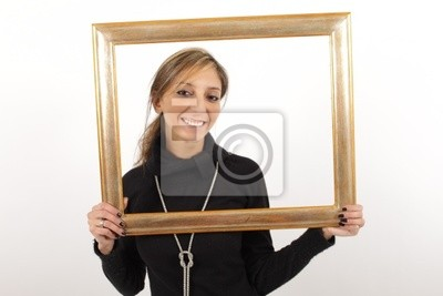A beautiful smiling woman holding a picture frame