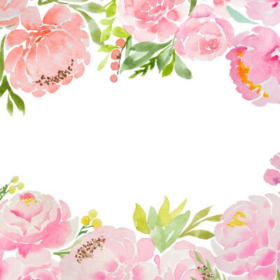 Wall mural A beautiful square blank for a card with careless watercolor pink peonies and roses and a white background. For a wedding, a birthday. Delicate pastel colors for design.