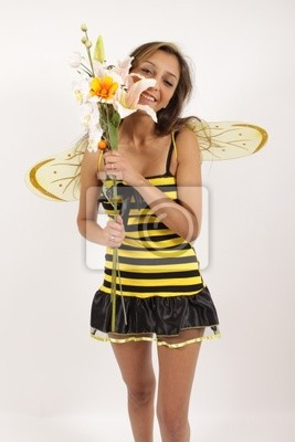 A bee with her flowers