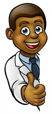 A cartoon scientist professor wearing lab white coat peeking around sign and giving a thumbs up